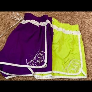 Athleta Purple/Green SZ Large Hana Run Shorts